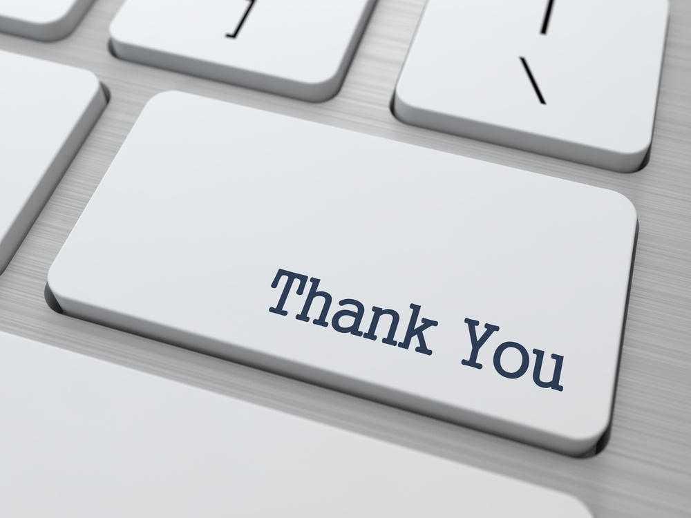 Thank You Button on Modern Computer Keyboard with Word Partners on It.